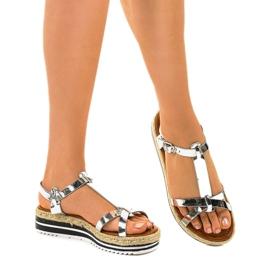 Espadrilles plates argentées 955-6 sandales gris 1