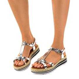 Espadrilles plates argentées 955-6 sandales gris 2