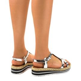 Espadrilles plates argentées 955-6 sandales gris 3