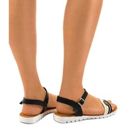 Sandales plates noires pour femmes G-513-01 2