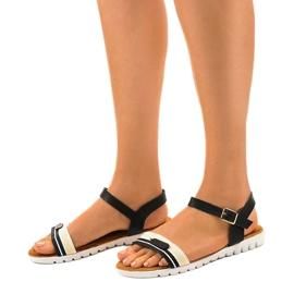 Sandales plates noires pour femmes G-513-01 1