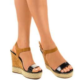 Sandales noires sur espadrilles VB76063 talons compensés 1