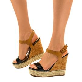 Sandales noires sur espadrilles VB76063 talons compensés 2