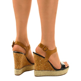 Sandales noires sur espadrilles VB76063 talons compensés 3