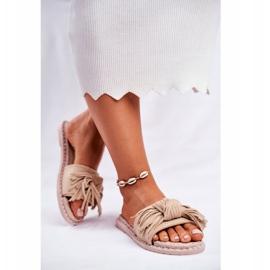 SEA Pantoufles pour femmes avec noeud beige Thaïlande brun 4