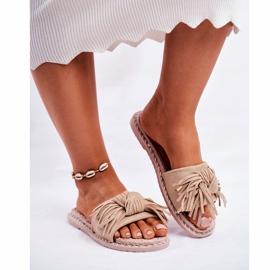 SEA Pantoufles pour femmes avec noeud beige Thaïlande brun 3