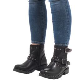 Bottes noires à fermoirs et paillettes A8018 5