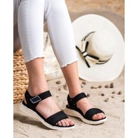 Evento Sandales confortables avec velcro noir 1