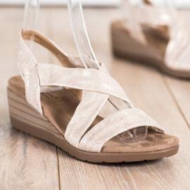 S. BARSKI Sandales compensées S.BARSKI beige or 2