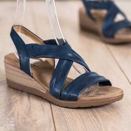 S. BARSKI Sandales compensées S.BARSKI bleu 2