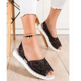 SHELOVET Sandales en cuir confortables noir multicolore 1
