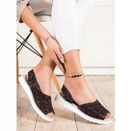 SHELOVET Sandales en cuir confortables noir multicolore 2
