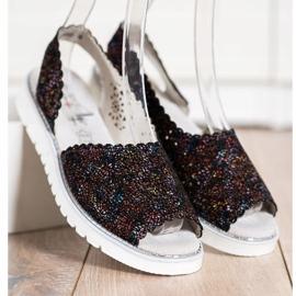 SHELOVET Sandales en cuir confortables noir multicolore 3