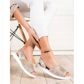 SHELOVET Sandales en cuir confortables beige rose 1