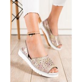 SHELOVET Sandales en cuir confortables beige rose 3