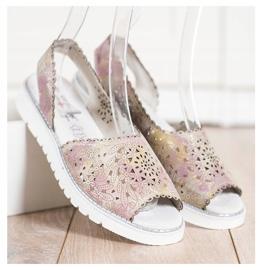 SHELOVET Sandales en cuir confortables beige rose 2