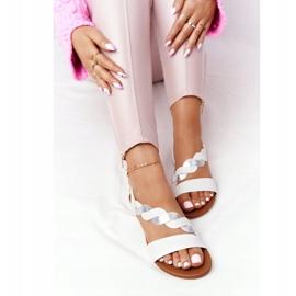 Sandales en cuir Vinceza 21-17117 Blanc et Argent 1