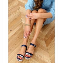 Sandales compensées bleu marine A89832 Bleu 2