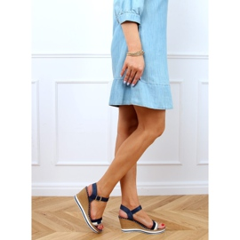 Sandales compensées bleu marine A89832 Bleu 3