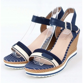 Sandales compensées bleu marine A89832 Bleu 1