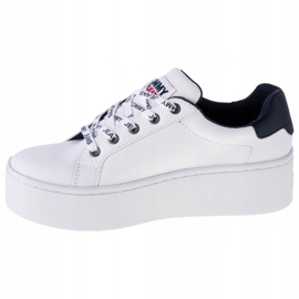 Tommy Hilfiger Iconic Leather Flatform Chaussures en EN0EN01113-YBR blanc marine 1