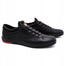 Polbut Chaussures casual en cuir pour hommes K23 noir 1