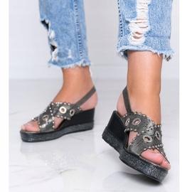 Sandales compensées grises métallisées Mon 1
