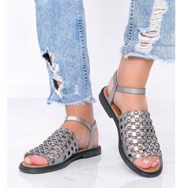 Sandales métallisées grises à clous Luxy 1