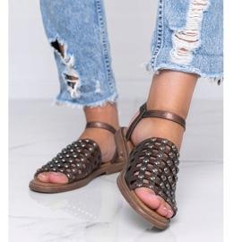 Sandales marron métallisées à clous Luxy brun 1