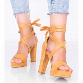 Sandales à lacets Ginny camel brun 1