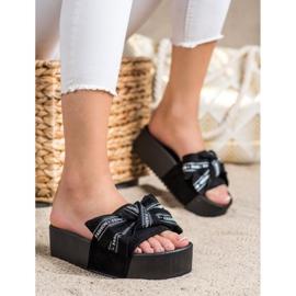 SHELOVET Pantoufles Avec Noeud De Mode noir 1