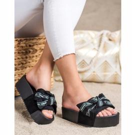 SHELOVET Pantoufles Avec Noeud De Mode noir 3