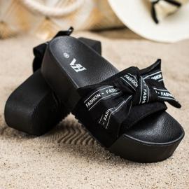SHELOVET Pantoufles Avec Noeud De Mode noir 2