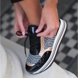 Marco Shoes Baskets légères sur semelle épaisse en cuir naturel noir 1