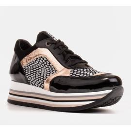 Marco Shoes Baskets légères sur semelle épaisse en cuir naturel noir 2
