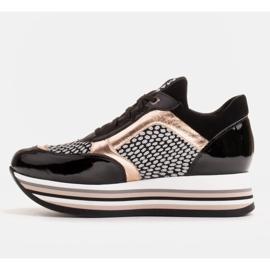 Marco Shoes Baskets légères sur semelle épaisse en cuir naturel noir 3
