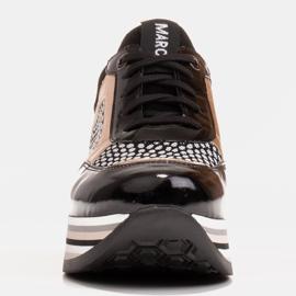 Marco Shoes Baskets légères sur semelle épaisse en cuir naturel noir 4