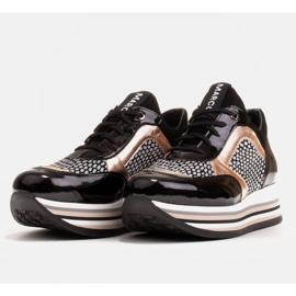 Marco Shoes Baskets légères sur semelle épaisse en cuir naturel noir 5