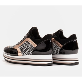 Marco Shoes Baskets légères sur semelle épaisse en cuir naturel noir 6