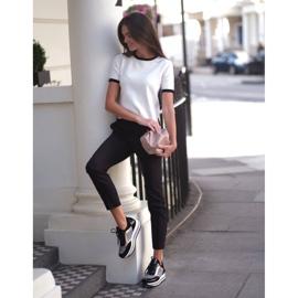 Marco Shoes Baskets légères sur semelle épaisse en cuir naturel noir 9