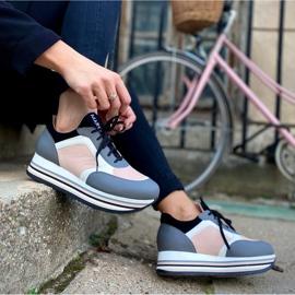 Marco Shoes Baskets légères sur semelle épaisse en cuir naturel gris 8