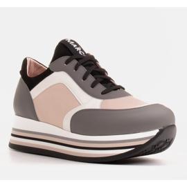 Marco Shoes Baskets légères sur semelle épaisse en cuir naturel gris 1