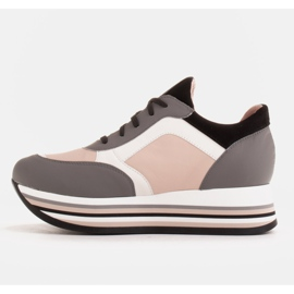 Marco Shoes Baskets légères sur semelle épaisse en cuir naturel gris 3