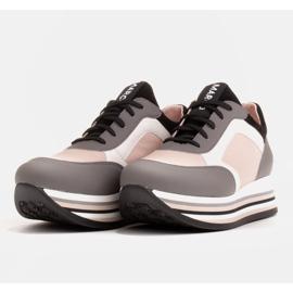 Marco Shoes Baskets légères sur semelle épaisse en cuir naturel gris 4
