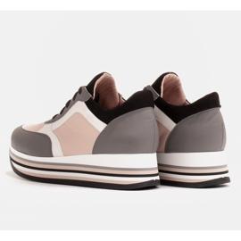 Marco Shoes Baskets légères sur semelle épaisse en cuir naturel gris 5