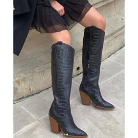Marco Shoes Bottes hautes pour femmes santiags, motif croco noir 8