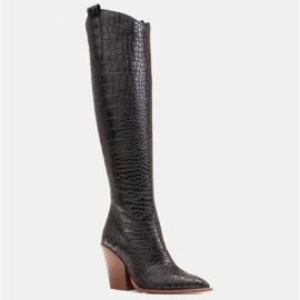 Marco Shoes Bottes hautes pour femmes santiags, motif croco noir 1