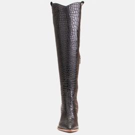 Marco Shoes Bottes hautes pour femmes santiags, motif croco noir 2