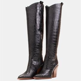 Marco Shoes Bottes hautes pour femmes santiags, motif croco noir 4