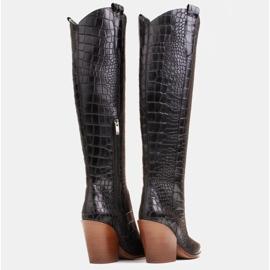 Marco Shoes Bottes hautes pour femmes santiags, motif croco noir 5